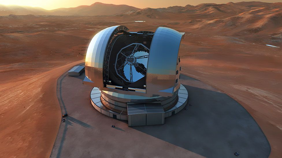The 39-metre E-ELT will dwarf existing optical telescopes, and the hope is that this will help spot Earth-like planets beyond our galaxy. (Copyright: European Southern Observatory)