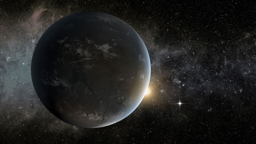 Earlier this year, astronomers said they had discovered the two most Earth-like planets so far - Kepler-62e (foreground) and Kepler-62f (morning star). (Copyright: Nasa)