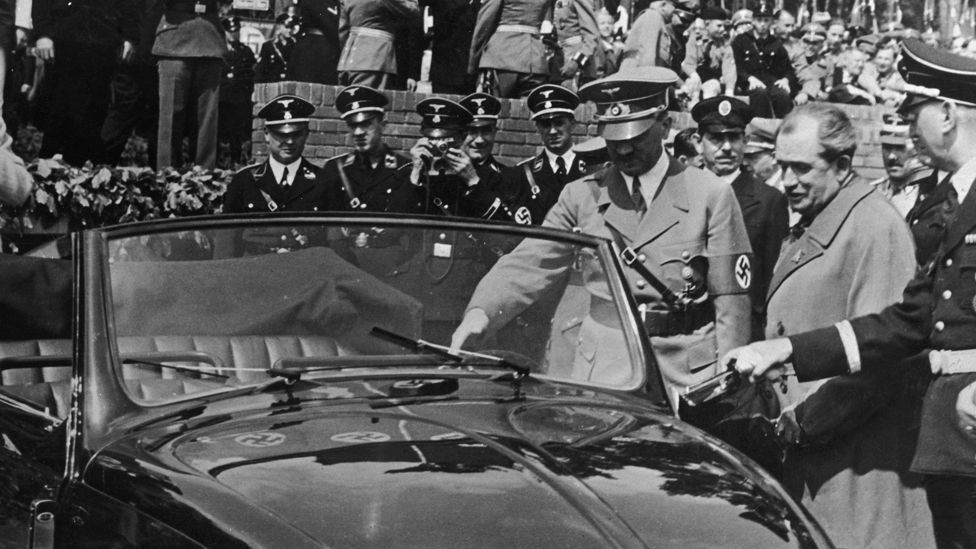 In 1934 German leader Adolf Hitler instructed designer Ferdinand Porsche to create a car which could transport a family of five at 100k/ph on the autobahns. (Getty Images)