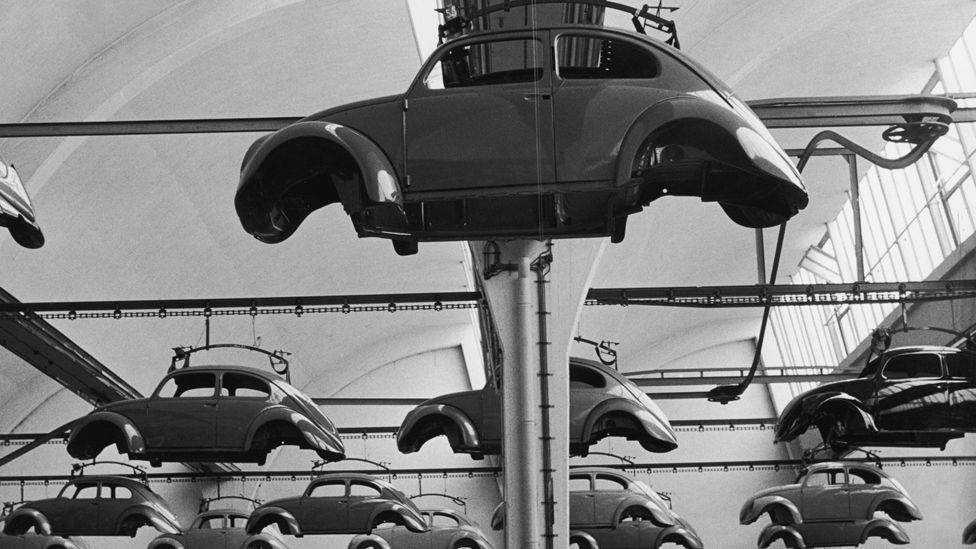 The VW factory in Wolfsburg, West Germany began producing the car in earnest, with the one millionth rolling off the production line in 1955. (Getty Images)