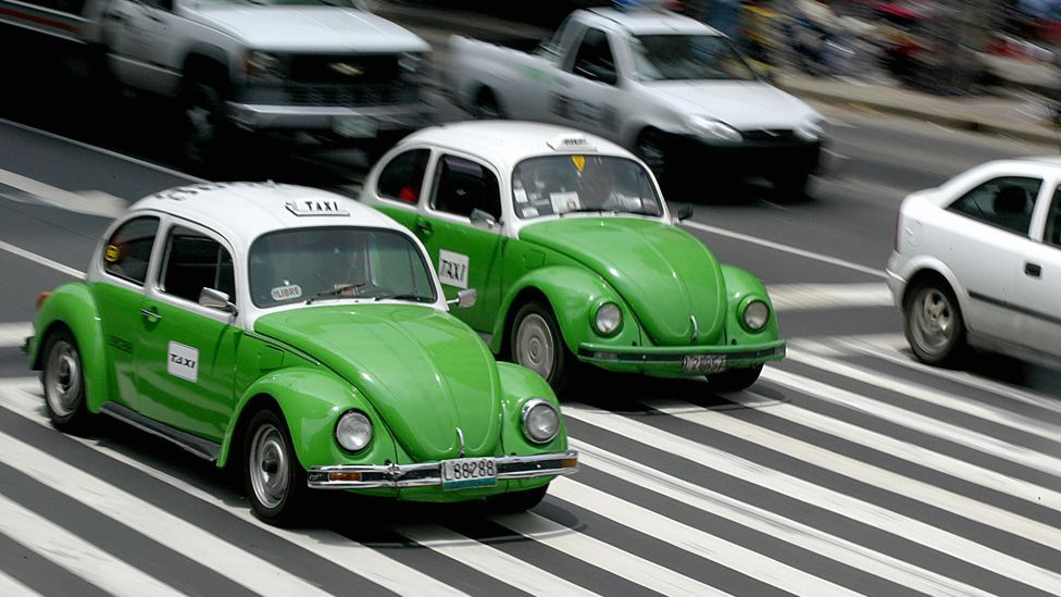 In 1972, the Beetle became Mexico City's Minitaxi. Nearly 50,000 of the bright-green-and-white Beetles plied their trade until the last retired in 2012. (Getty Images)