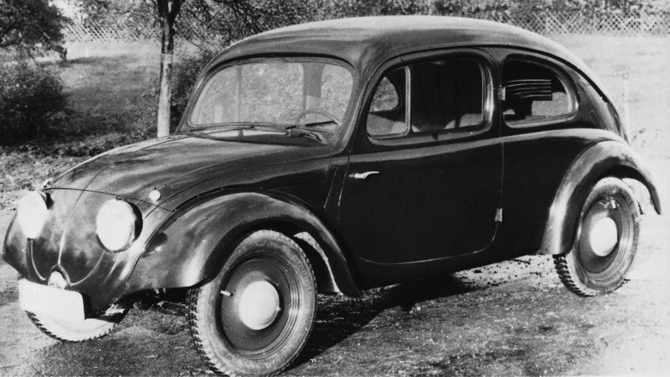 German families were offered the car in a savings plan, but war broke out before the Beetle could become a fixture of Nazi family life. (VW)