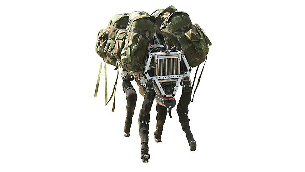 Boston Dynamics' Big Dog is an experimental robot intended to carry equipment over rough terrain.  The US military has expressed interest. (Copyright: Boston Dynamics)