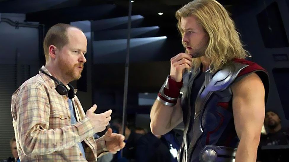Avengers director Joss Whedon – here with Thor (Chris Hemsworth) – is seen as one of the Hollywood figures trying to push female-led action films. (Walt Disney Studios)