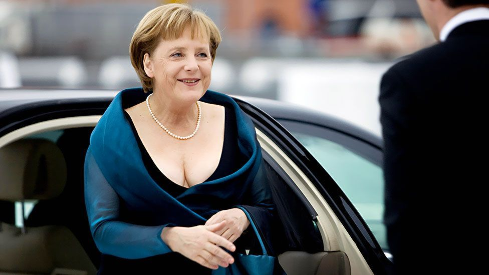 The daring neckline of a dress worn by the chancellor to the opera in Oslo in 2008 drew sniggers from the British press. (Getty Images)