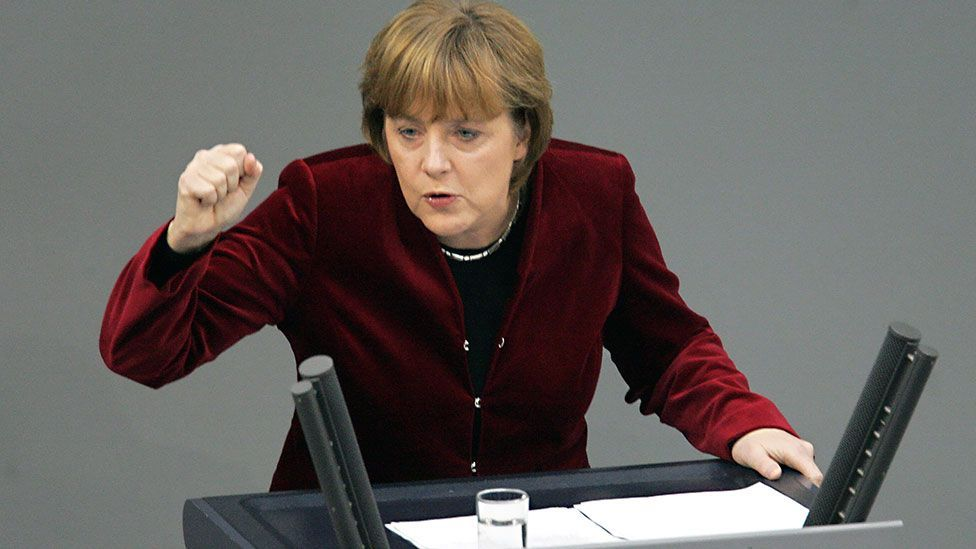 Merkel debates in the German Bundestag in 2005. The German chancellor's style has always been classic and unfussy.(Getty Images)