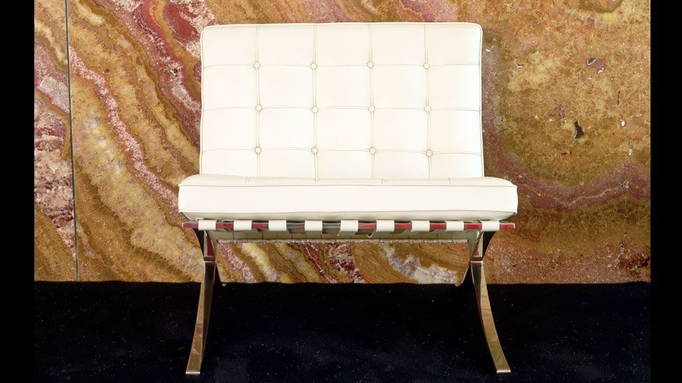 The famous 'Barcelona' chair was designed by Mies van der Rohe and Lilly Reich for the German Pavilion.