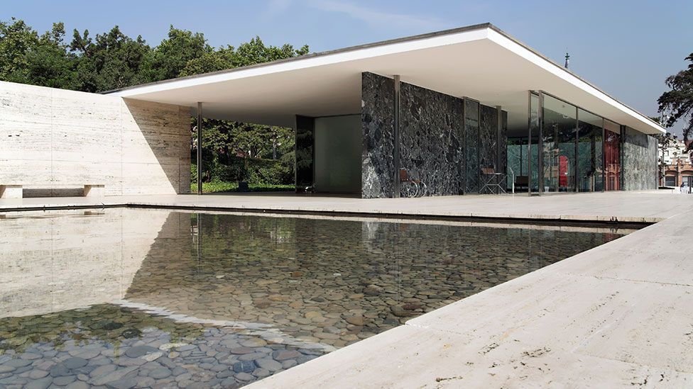 The Barcelona Pavilion's slim roof is supported by eight slender, chromed-steel columns.