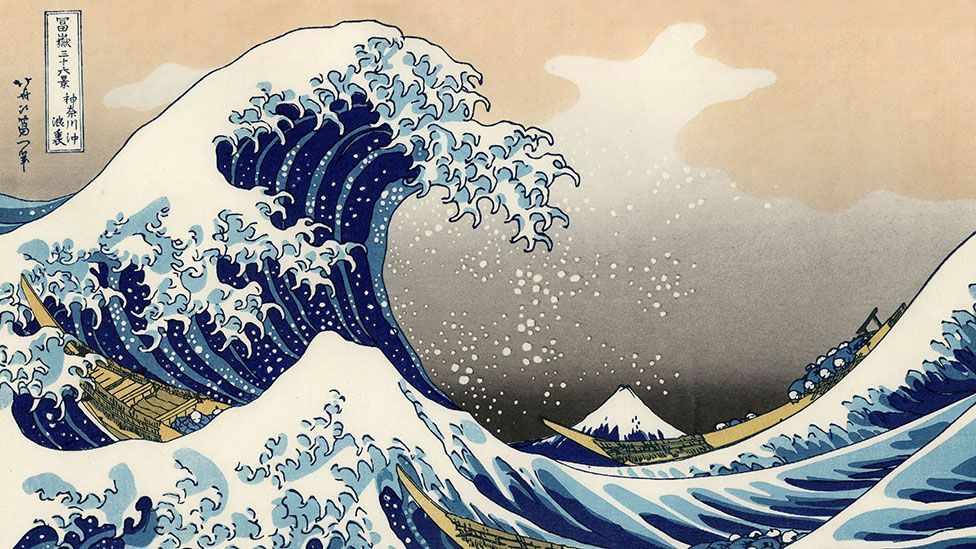 Hokusai also created the famous woodblock print of foaming seas near Mount Fuji known as The Great Wave. (Corbis)