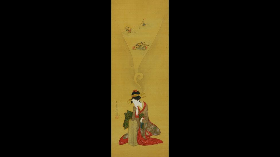 Hosoda Eishi came from a privileged background and is one of the best-known Ukiyo-e artists. A silk scroll shows a Young Woman Dreaming of The Ise Stories. (British Museum)
