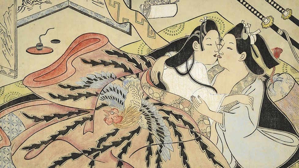 Sugimura Jihei's Lovers Under a Quilt with Phoenix Design, is an untitled, detailed erotic picture from the mid-1680s. (Private collection, USA)