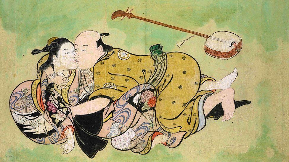 Nishikawa Sukenobu's Sexual Dalliance between a Man and Geisha forms part of the series Hyakunin joro shinasadame (Appreciating 100 Women). (British Museum)
