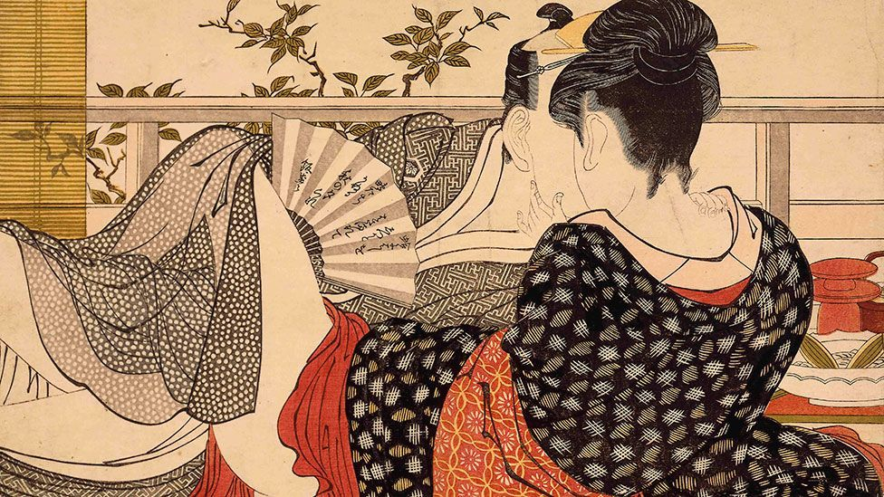 Kitagawa Utamaro was one of Japan's great woodblock artists. Lovers in the Upstairs Room of a Teahouse is from his masterpiece, Utamakura (Poem of the Pillow). (British Museum)