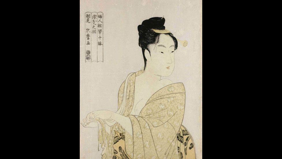 Kitagawa Utamaro's Uwaki no so (Fancy-Free Type) is a colour woodblock print from the series Fujin sogaku juttai (Ten Types in the Physiognomic Study of Women). (British Museum)