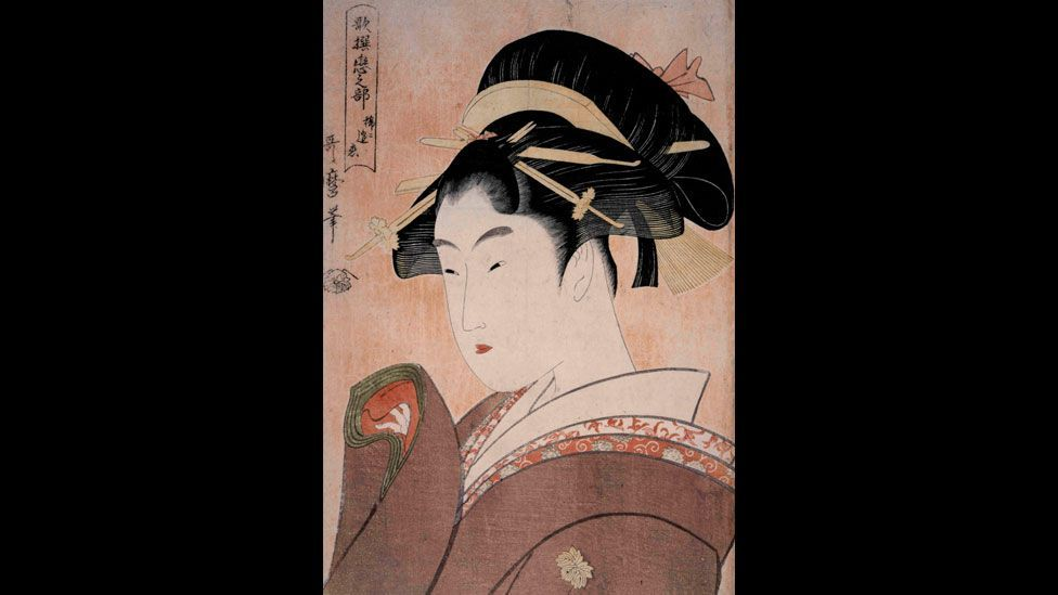 Utamaro's Love that Rarely Meets is a print of a young woman with her kimono sleeve raised, from the series, Anthology of Poems: The Love Section. (British Museum)