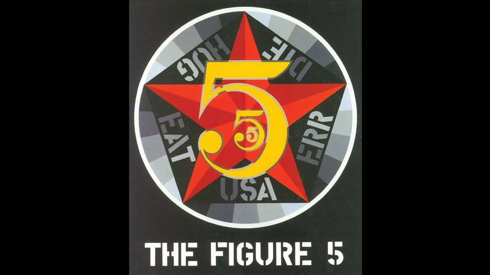 The Figure Five includes a pentagon behind a five-pointed star, perhaps a subtle nod to Indiana's own service in the US Air Force. (Morgan Art Foundation)