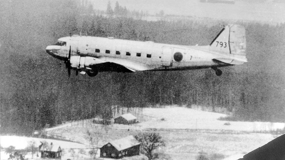 A Soviet fighter shot down an intelligence-gathering Swedish air force DC-3 in 1952. It was discovered at the bottom of the Baltic Sea in 2003. (AFP/Getty)