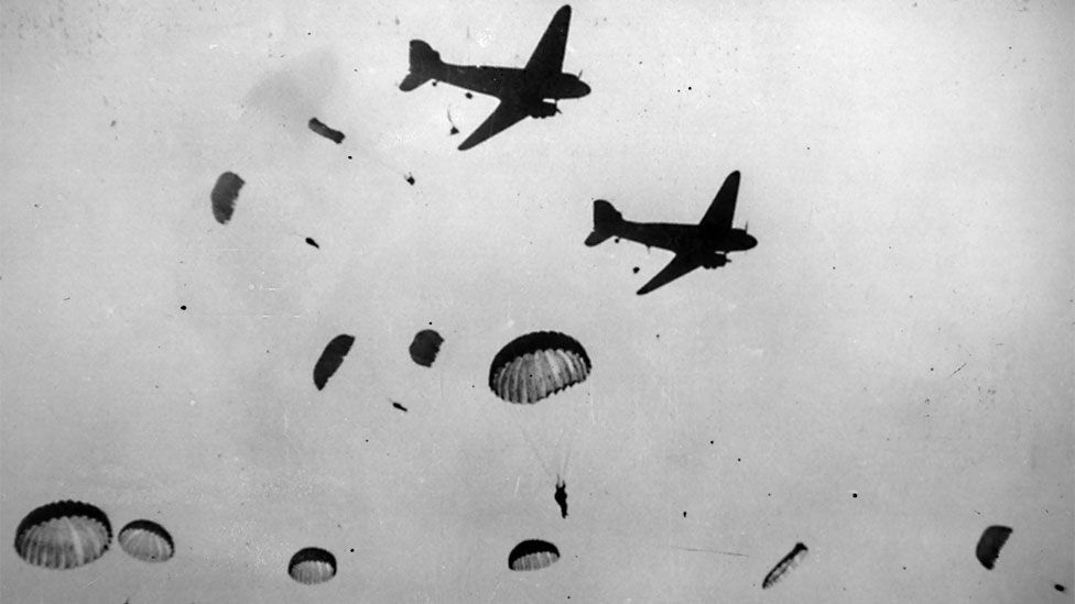 Allied paratroop operations relied on the Dakota, as military DC-3s were called. Thousands flew during the invasion of Sicily, D-Day, and Arnhem. (Keystone/Getty)