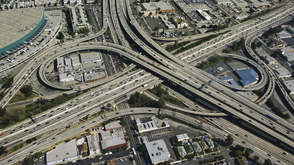 Megacities such as Los Angeles have ushered in a complicated system of multi-lane highways, often jammed with polluting vehicles. (Copyright: Thinkstock)