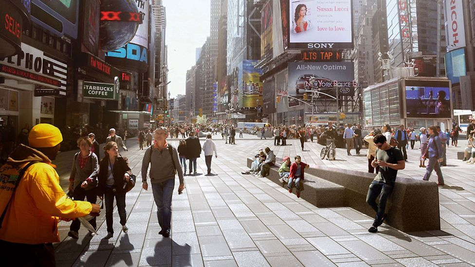 Many cities around the world are considering turning streets into car-free zones – ones which help curb pollution and make people healthier. (Copyright: Snohetta)