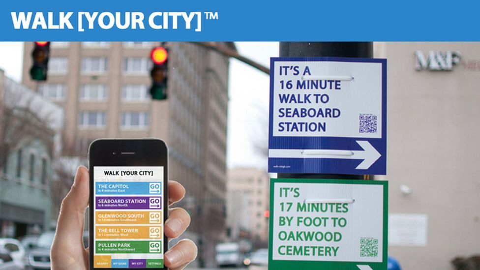 Another US idea is WalkYourCity – people can print out signs showing the walking time to certain spots. The signs are helping improve walking routes. (Copyright: WalkYourCity)