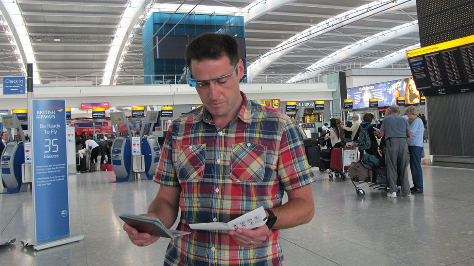 Kevin O'Sullivan in a demonstration at London's Heathrow Airport