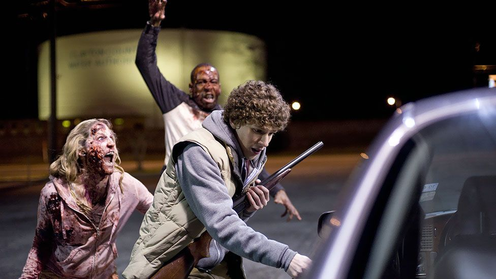 In Zombieland (2009) a motley crew join forces in order to travel across a zombie-infested America – with comic consequences. (Sony Pictures)