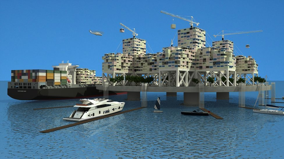 The Seasteading Institute is investigating several designs, including one where pre-fabricated dwellings are delivered by cargo ships. (Anthony Ling/Seasteading Institute)