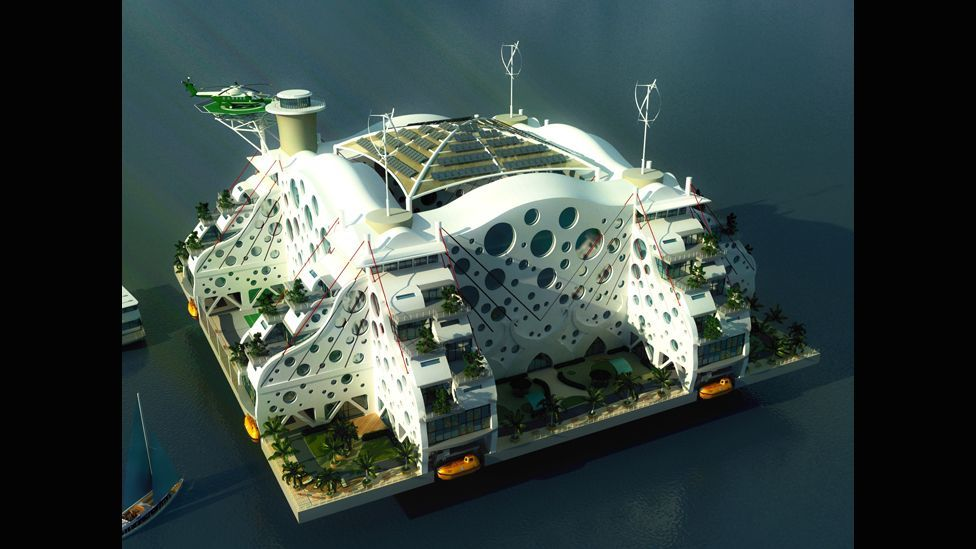 Some of the designs for ocean living resemble five-star hotels. Life on the oceans may include all the creature comforts we expect. (Andras Gyorfi/Seasteading Institute)