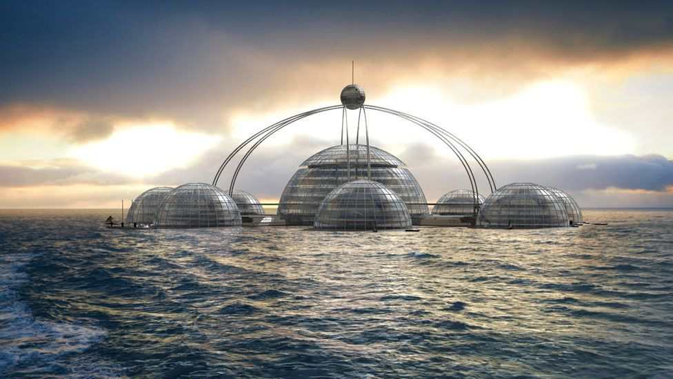 British designer Phil Pauley's concept is of floating modules that can be rest on the surface in good weather – and submerge when conditions worsen. (Phil Pauley/Pauley)