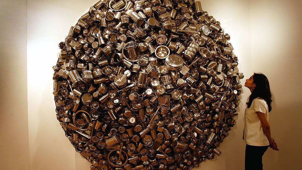 An assemblage of pots by Subodh Gupta sold at Christie's for £601,250 in 2008 – but a nearly identical work fetched just £265,250 in 2012. (Getty)