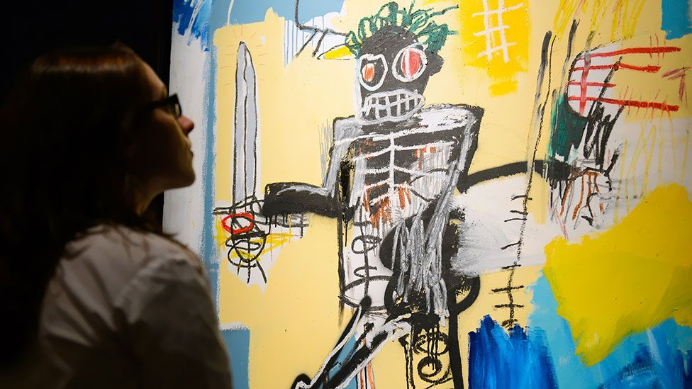 With paintings by Jean-Paul Basquiat, a central, gesticulating figure is sure to send prices sky high. (Getty)