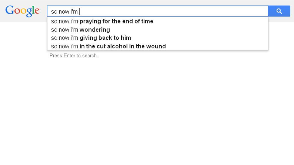 Is there such a thing as algorithmic poetry? Occasionally, autocomplete gets close to being profound.