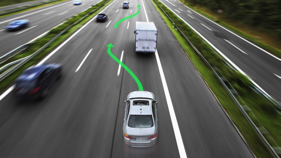 BMW's Traffic Jam Assistant could allow a road full of cars to move seamlessly together, like a school of fish. (BMW/Newspress)