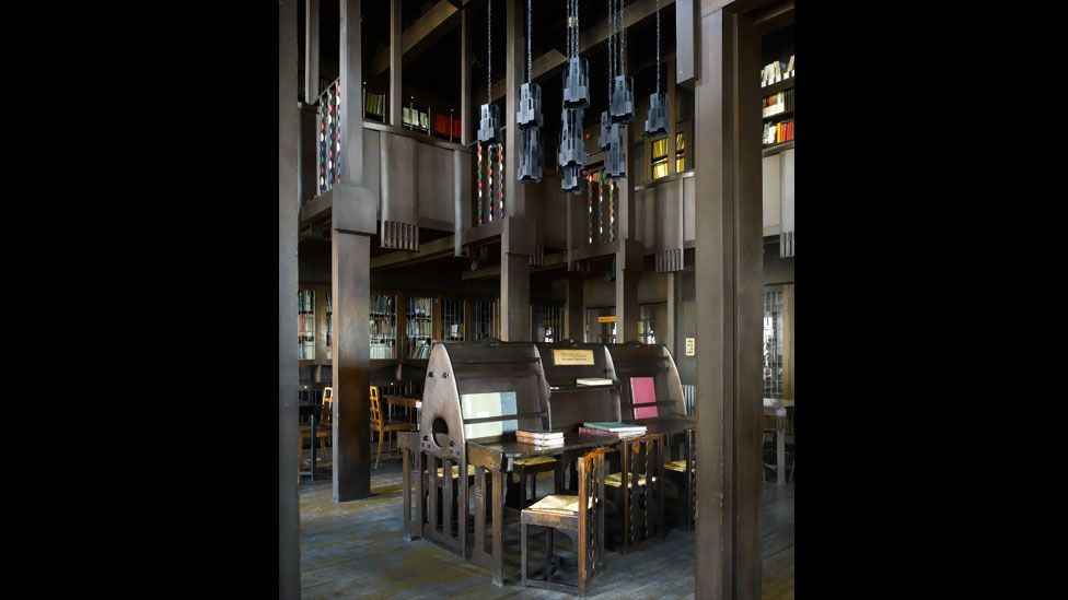 Charles Rennie Mackintosh's beautiful library at the Glasgow School of Art shows the Scottish architect and designer's particular take on Art Nouveau.