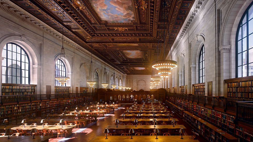 At the time it was built, the huge reading room of the New York Public Library was the largest of its kind at 297ft (91m) long and 51ft (16m) high.
