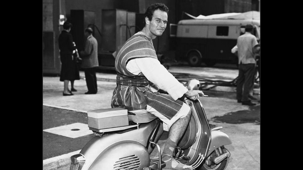 Vespas quickly became very popular movie stars. Charlton Heston rode one to get around the set of 1959's Ben-Hur. (Corbis)