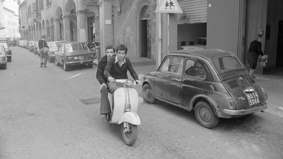 The word Vespa means 'wasp' in Italian, and by the early 1950s thousands of the scooters, originally designed by an aeronautical engineer, were buzzing around Rome. (Corbis)