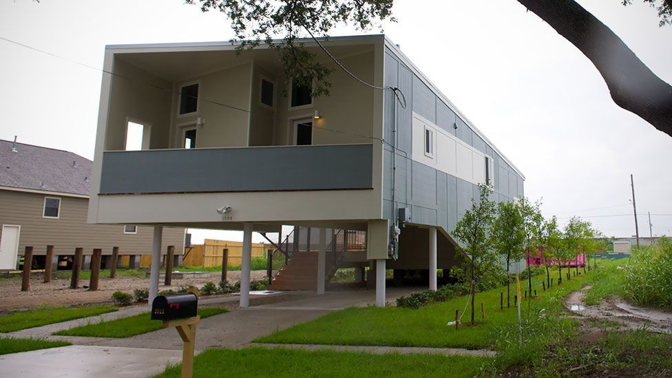 Nearly five years since Hurricane Katrina devastated the US, modern homes built to withstand storms better stand where destroyed houses once stood (Getty Images)