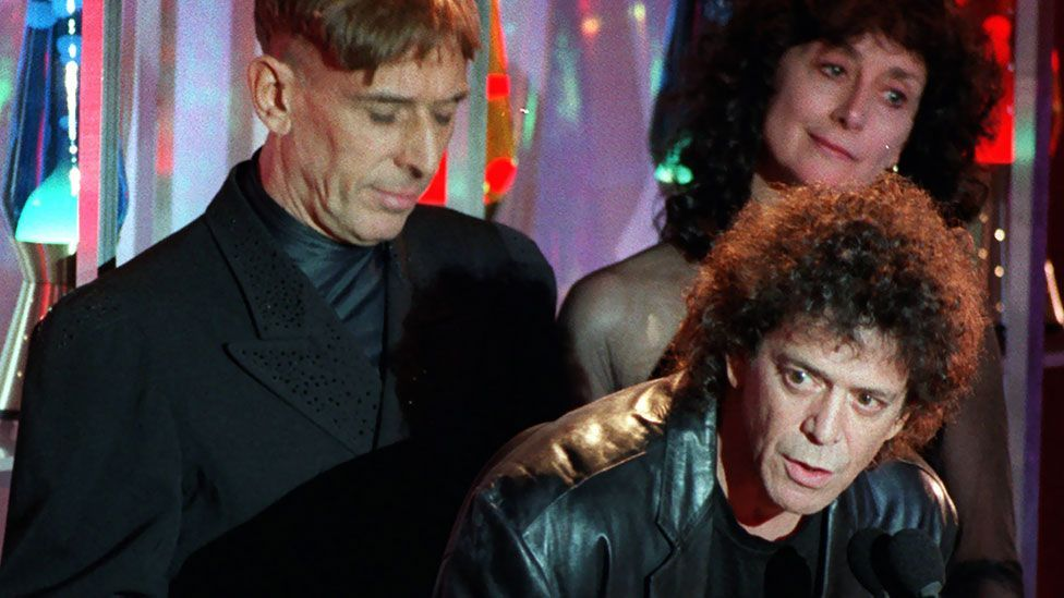The Velvet Underground is inducted into the Rock 'n' Roll Hall of Fame (Lou Reed, John Cale and Martha Morrison, for the late Sterling). (AP/Mark Lennihan)