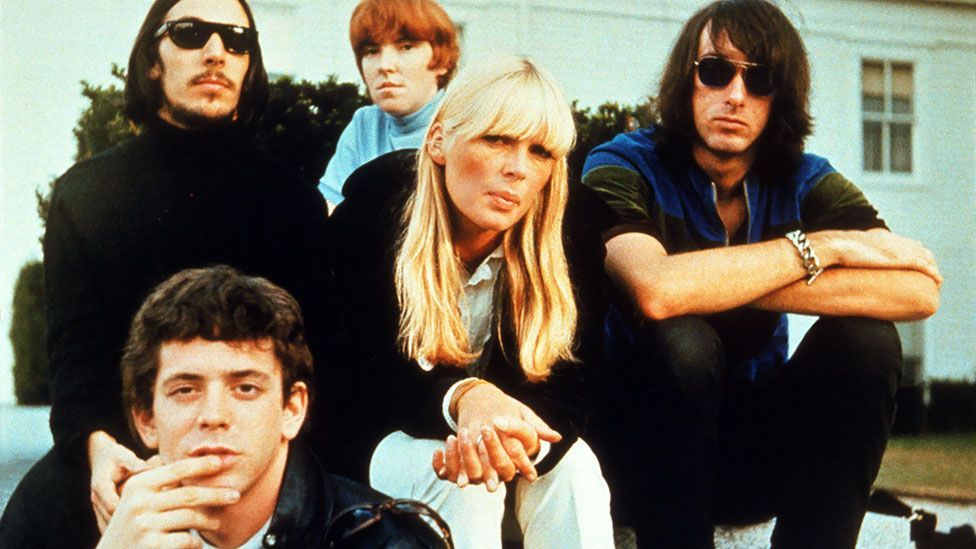 The Velvets pictured with Nico circa 1969:  Lou Reed, Sterling Morrison, Maureen Tucker, Nico and Doug Yule. (Pictorial Press Ltd/Alamy)
