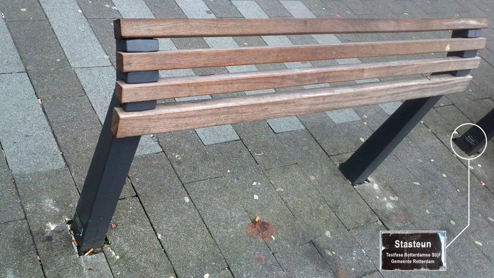 A bench in Rotterdam that discourages citizens staying for too long. (Selena Savic)
