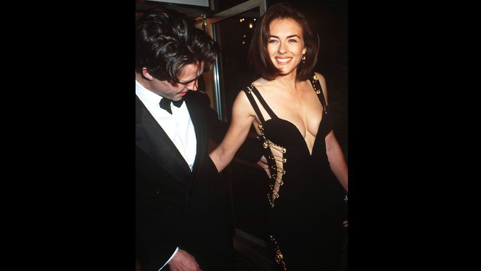 The Versace dress worn by Elizabeth Hurley to the premiere of Four Weddings and a Funeral caused a storm in the press and made Hurley a household name. (Rex Features)