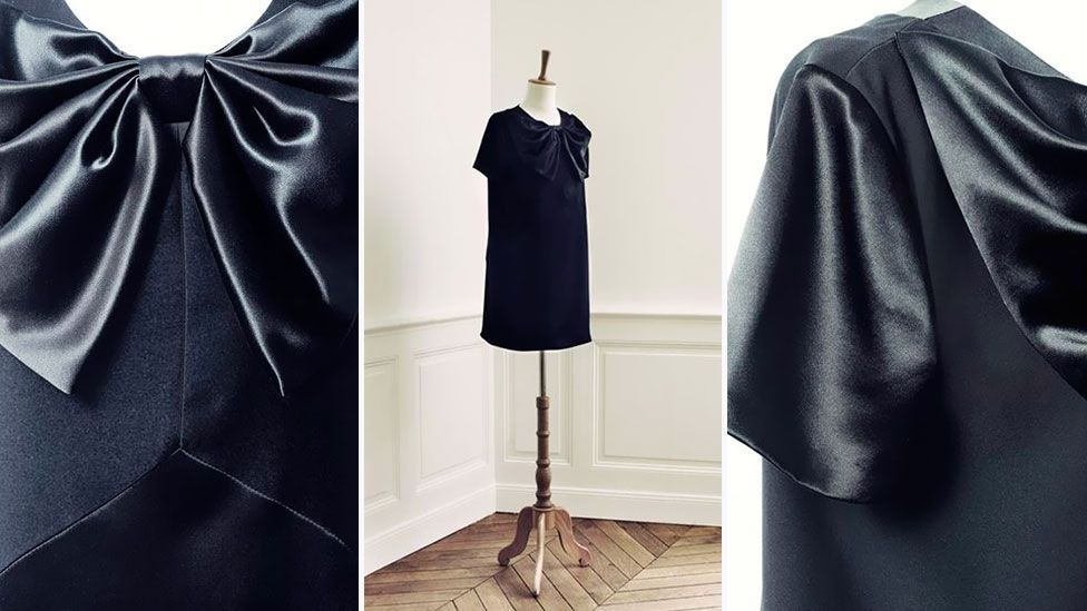 British designer Giles Deacon's 2013 LBD for French retailer Monoprix raises the hem and adds a classic touch with an oversize bow at the neckline. (Monoprix)