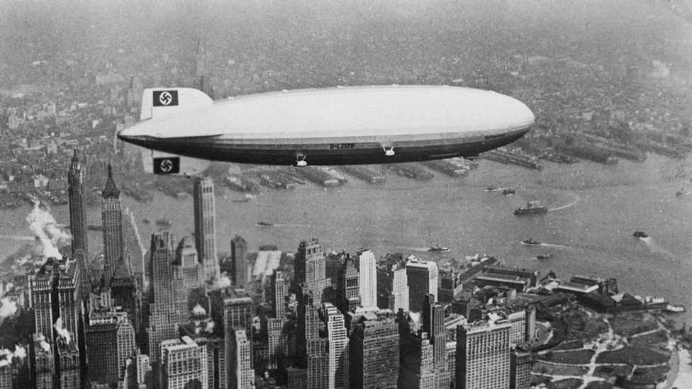The biggest airship ever built was the Hindenberg, a tool of Nazi propaganda in the 1930s. The trans-Atlantic zeppelin crashed in a spectacular explosion in the US in 1937. (AFP)