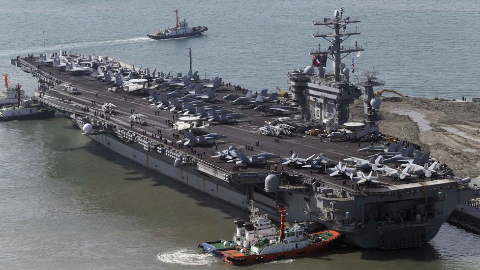 The US Navy's Nimitz-class carriers are the biggest warships ever built – their 1,100ft length allowing room to carry more than 5,500 people and 80 combat aircraft. (Reuters)