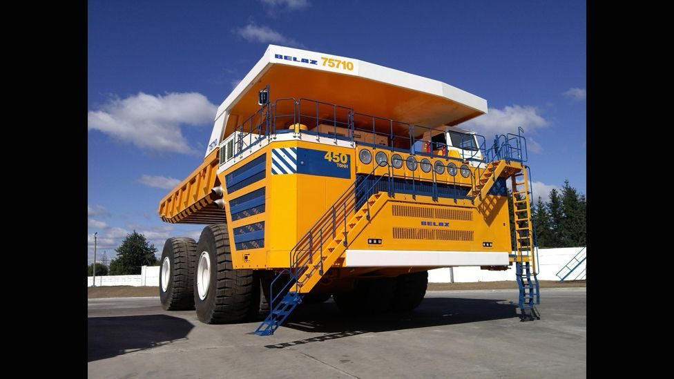 Launched in October, the Belaz 75710 is capable of hauling 450 tonnes of material, and weighs more than 360 tonnes when empty. It is also  66 feet (20.6m) long. (Belaz US)