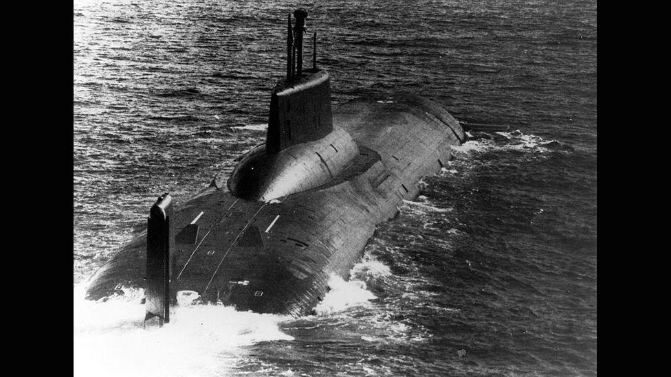 Soviet-designed Typhoon-class missile submarines continue to serve in Russia's navy; they are the biggest submersibles built, measuring more than 570ft (175m). (US Navy)