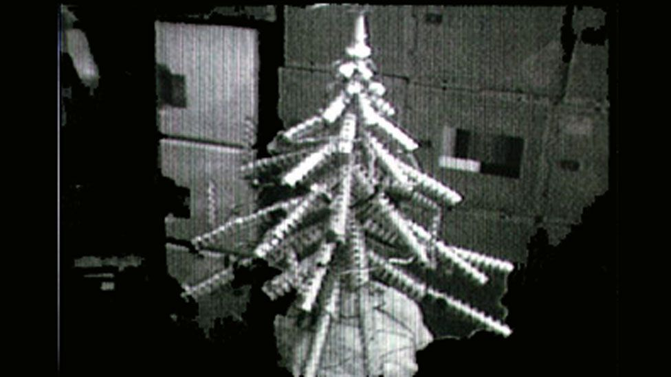 The third manned Skylab mission created this Christmas tree out of food cans. (Nasa)