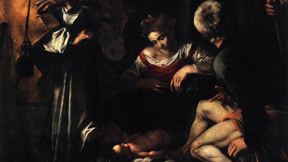 Detail from Caravaggio's Nativity with San Lorenzo and San Francesco (WikiMedia)